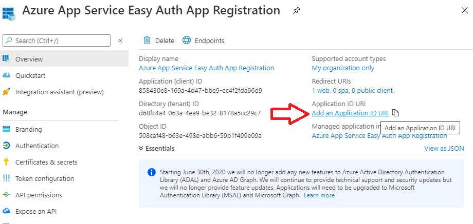 App registration for App Service Easy Auth Step 5